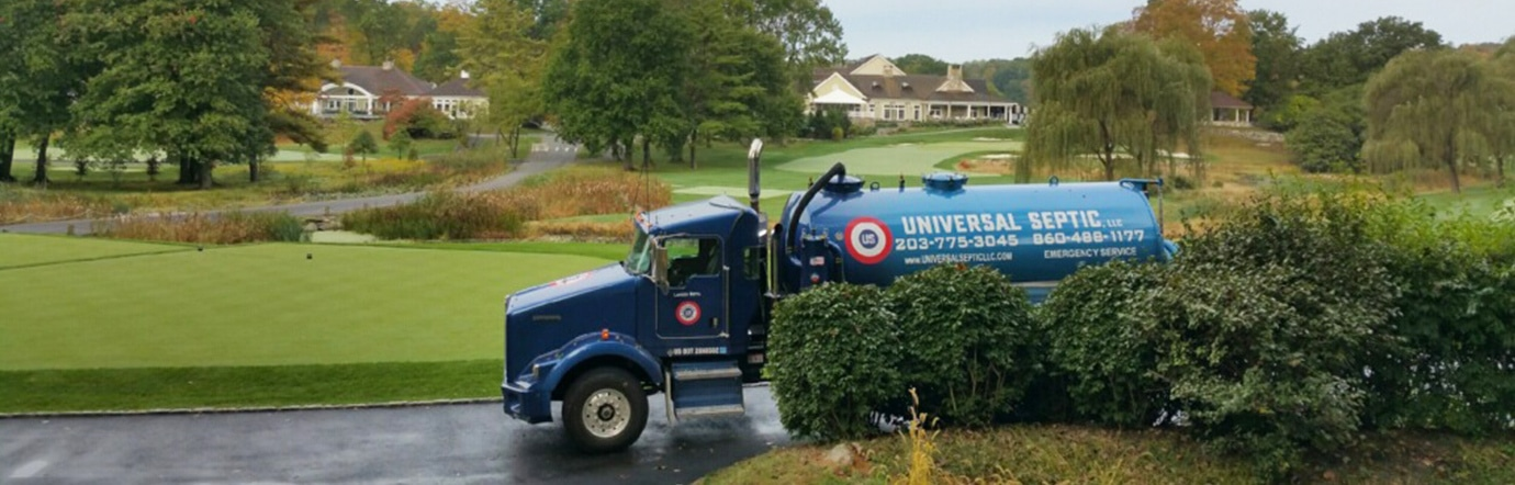 A Universal Septic Truck at Burning Tree Country Club Greenwich, CT.